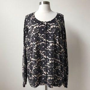 Talbots Black Lace Print Cardigan Sweater